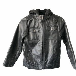 Urban Republic Faux Leather w/Hoodie black M